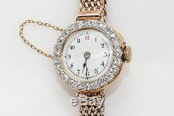 1800 Antique 8000 $ 3tc Old Euro Vs G Diamant Platnum En Or 18 Carats Montre Rare