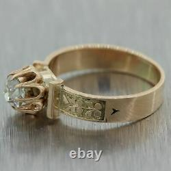1860's Antique Victorian 14k Yellow Gold 0.55ct Old Mine Cut Diamond Band Ring