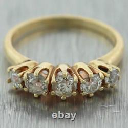 1880 Antique Victorienne 14k Or Jaune De La Mine Old Cut Bague À Diamants