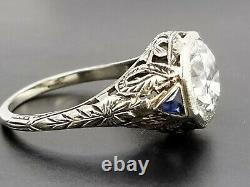18k Or Blanc Vintage Antique Bague Art Déco Round Old Mine 3.45ct Diamond