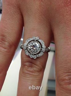 18kt 1.70ct Certifié Old Cut Européenne Diamant Style Antique Bague De Fiançailles