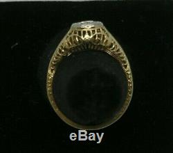 1910ish Antique 14k Or Filigrane Old Cut Diamond Ring Européenne. 33ct