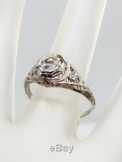 1920 Antique 3000 $ Vs F Old Cut Diamant Or Blanc 18 Carats Filigrane Bague Rare