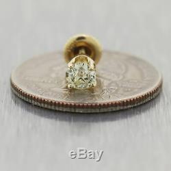 1930 Antique Art Déco Or Jaune Old Mine Cut Diamant Stud