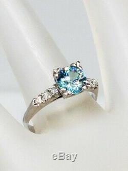 1940 Antique 2400 $ 2ct Old Euro Natural Blue Zircon Diamond Ring Platinum