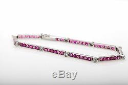 1950 Antique 12 000 $ 7ct Naturel Birmanie Ruby Old Euro Diamond Bracelet Platinum
