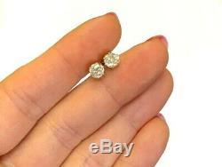 1.03ct Ancienne Mine À Diamant Boucles D'oreilles En Or Jaune 10k Antique