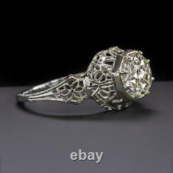 1.38ct Vieux Européen Cut Diamond De Bague De Fiançailles Art Deco Anciennes 1.5