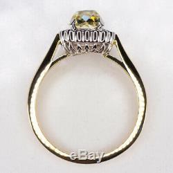 1.65ctw Antique Vieux Mine Coupe Jaune Coussin Diamond Vintage Halo Bague De Fiançailles