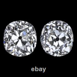 1.74ct G Si1-si2 Vieux Mine Cut Diamond Dormeuses Antique Paire Vintage Coussin