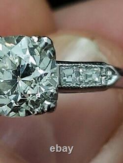 1.98 Vieux Diamant Coupé Européen Avec Anneau De Platine Antique