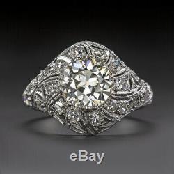 1.9ctw Vs Vieux Euro Coupe Diamant Bague De Fiançailles Platinum Art Deco Anciennes