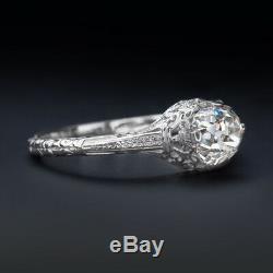 1 Carat Old Cut Mine De Diamants Bague De Fiançailles Vintage En Or Blanc Antique Filigrane