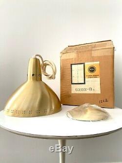 1 New Old Stock Vintage MID Century Brass Moderne Pendentif Cône Hanging Lampe