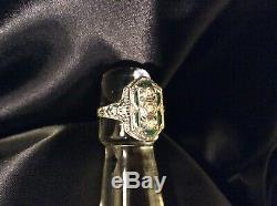 1ct Antique Old Euro Diamant Emeraude Blanc Or Filigrane Taille 8 Bague