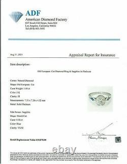 2.00 Ct Vintage Antique Old European Cut Diamond Fiançailles Anneau En Platinum