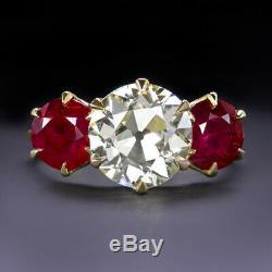 2.15ct Vintage Diamond Vs1 Ruby 18k Bague De Fiançailles Vieux Cut Antique Européenne