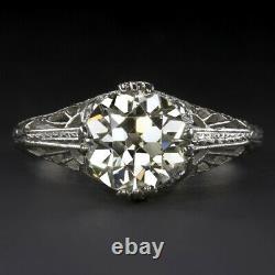 2 Carat Vs1 Old European Cut Diamond Bague De Fiançailles Platinum Vintage Antique Er