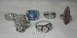 2 Ct Old Mine Cut Diamond Platinum Pearl Ring Ancienne Fleur D'art Déco Victorienne