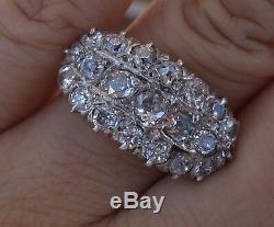 2ct Bague En Diamant Antique Cru Européen Ancienne Coupe Supérieure De Platine Tige 14k