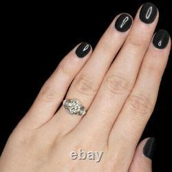 2ct Vintage Diamond Platinum Engagement Ring Old Europeen Cut Antique Art Deco