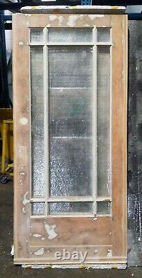 36x83x1.75 Antique Vintage Old Wood Wooden Exterior Entry Door 9 Verre De Fenêtre