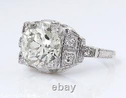 3.07ct Antique Vintage Deco Old Euro Diamant Engagement Anneau De Mariage Plat Egl