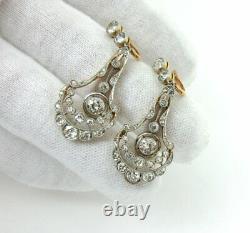 3.25ct Antique Old Mine De Diamant Taille Platine Et En Or 18 Carats Boucles D'oreilles