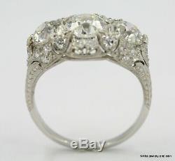 3,51 Ct Antique Vintage Art Déco Old Bague Européenne Diamant Engagement Plat Gia