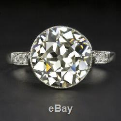 4 Carat Old Cut Européenne K Vs Diamant Bague De Fiançailles Platine Antique Vintage