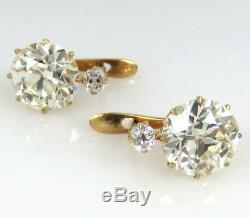 7.0ct Antique Européenne Et Ancienne Mine À Diamants En Or 18 Carats Boucles D'oreilles