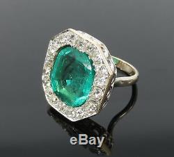 8.0ct Antique 4.0ct Emeraude Colombienne Ancienne Mine À Diamants 18k Bague En Or Jaune