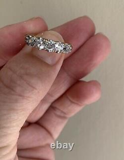 Ancien Victorien Old Cut Diamond 5 Pierre 18ct Or Anneau Half Eternity Gypsy 1ct