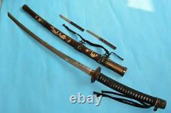 Ancienne Épée Japonaise Samurai Katana Ancienne Signée Damas Dague En Acier Combat