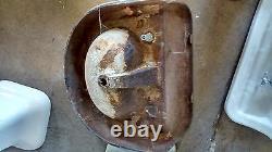 Ancienne Ferme Ancienne Porcelaine Fonte Salle De Bain Évier Avec Arrière Splash