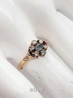 Ancienne Victorienne Des Années 1860 Vieille Mine Taillée Diamant Alexandrite 14k Bague En Or Jaune