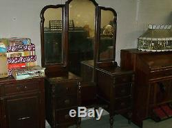 Anciennes Grande Coiffeuse Avec Tri Pli Vieux Miroir 6 Tiroirs Travail