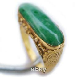 Anciennes Old 22k Or Massif Jade Pierres Précieuses Pierre Verte Selle Ring Marqué
