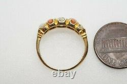 Anticique Anglais 18k Old Cut Old Diamond Coral & Pearl 5 Stone Ring C1890