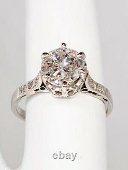 Antique 1930s Deco $10,000 1.50ct Old Cut Diamond Platinum Filigree Wedding Ring