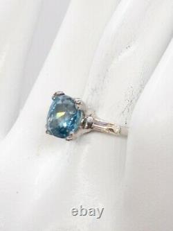 Antique 1930s Deco 4000 $ 5ct Natural Old Cut Blue Zircon Diamond Platinum Ring