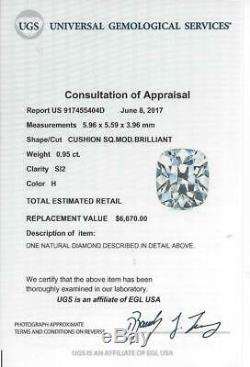 Antique 1ct Ancienne Mine Europeen Coussin Cut Diamond H Si2 Certified Cru Vrac