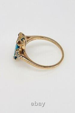 Antique $3400 1940s 5ct Old Cut Natural Blue Zircon Diamond 10k Yellow Gold Ring