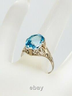 Antique Années 1920 $3000 5ct Natural Old Cut Blue Zircon 14k White Gold Filigree Ring