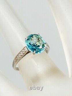 Antique Années 1920 $3400 5ct Old Mine Cut Natural Blue Zircon Platinum Wedding Ring