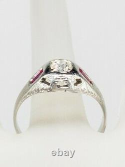 Antique Années 1920 $4000 1ct Old Euro Diamond Ruby 18k White Gold Mens Band Ring