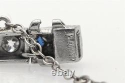 Antique Années 1920 5ct Old Euro Vs G Diamond Trillion Blue Sapphire Platinum Bracelet