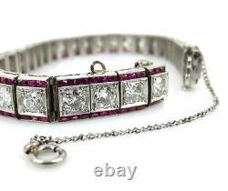 Antique Art Déco 9.0ct Old Mine Cut Diamond - 6.5ct Ruby Platinum Bracelet