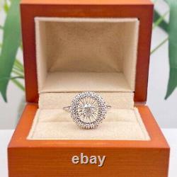 Antique Art Déco Ancien Européen 0.70 Tcw Diamond Halo Ring 18k Or Blanc