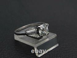 Antique Art Deco Gia 1.21ct Anneau De Diamant À La Mine Ancienne Bague Platine